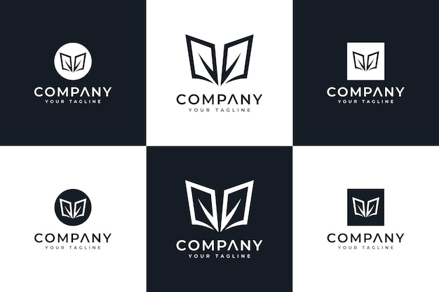 Set van creatief logo-ontwerp met boekblad voor alle toepassingen