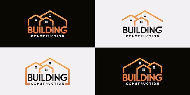 Set van creatief logo-ontwerp voor de bouw met lijntekeningen en modern stijlconcept