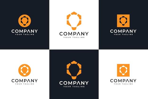 Set van creatief logo-ontwerp voor gloeilampen voor alle toepassingen