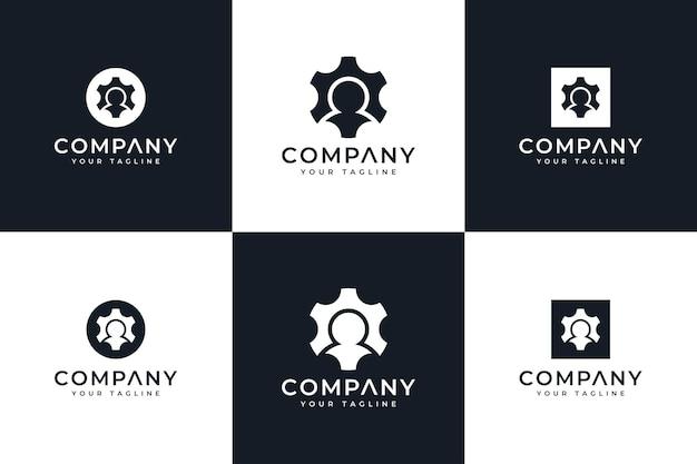Set van creatief logo-ontwerp voor menselijke uitrusting voor alle toepassingen