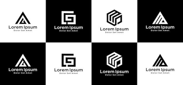 Set van creatief monogram logo-ontwerp