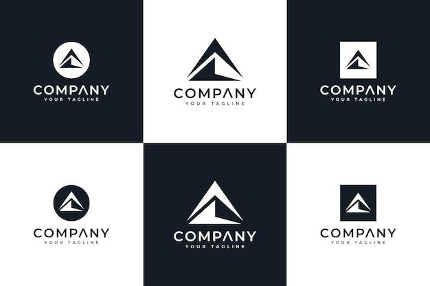 Set van creatief ontwerp met bergdriehoeklogo voor alle toepassingen
