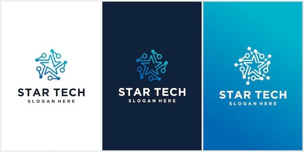 Set van creatief star technology-logo in blauw
