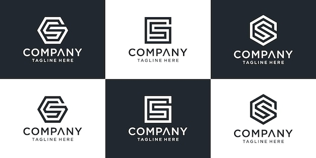 Set van creatieve abstracte letter gs logo design collectie.