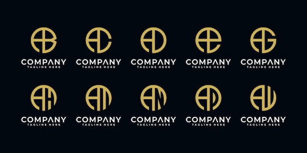 Set van creatieve abstracte monogram briefsjabloon een logo-ontwerp
