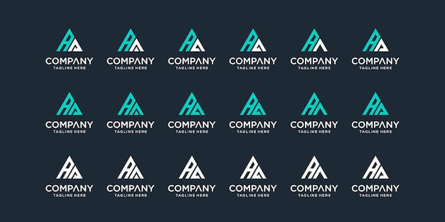 Set van creatieve abstracte monogram letter aa logo sjabloon