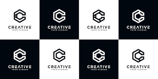 Set van creatieve abstracte monogram letter c logo-ontwerp met zeshoek stijlsjabloon
