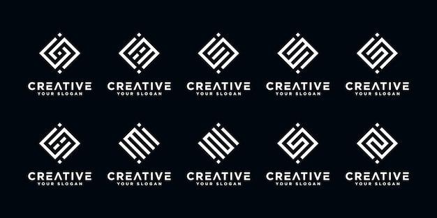 Set van creatieve abstracte monogram letter i en etc logo ontwerpsjabloon