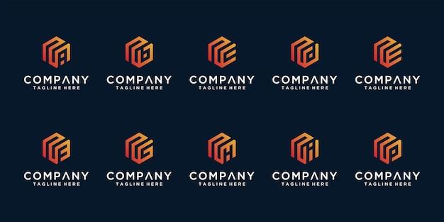 Set van creatieve abstracte monogram letter n en etc logo ontwerpsjabloon
