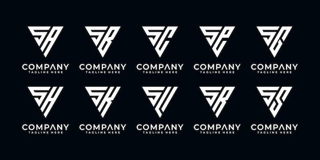 Set van creatieve abstracte monogram letter s logo-ontwerp met driehoek stijlsjabloon
