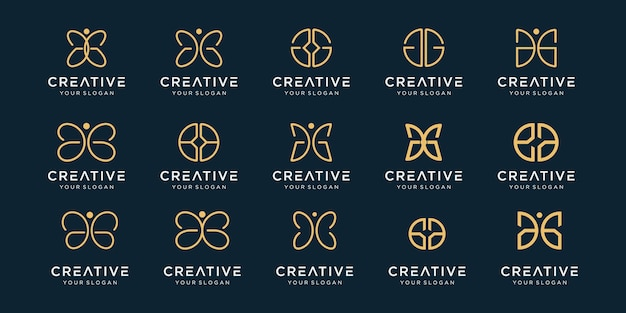 Set van creatieve abstracte monogram logo-ontwerp.