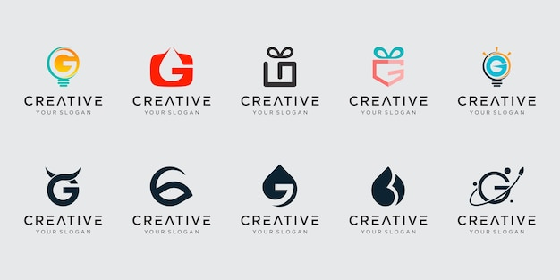 Set van creatieve abstracte pictogram letter g logo ontwerp.