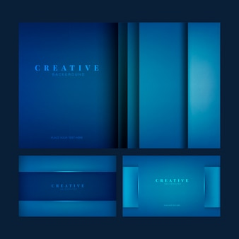 Set van creatieve achtergrondontwerpen in diepblauw
