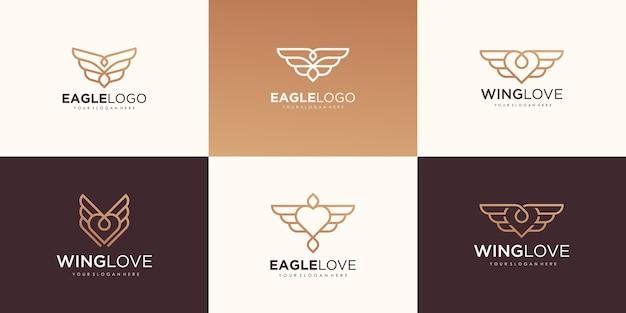 Set van creatieve adelaarsliefde met lijn minimalistisch logo