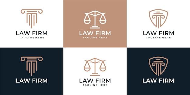 Set van creatieve advocatenkantoor justitie element logo ontwerp advocaat juridische jury