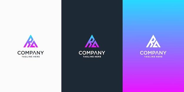 Set van creatieve ba brief vector logo ontwerp sjabloon premium