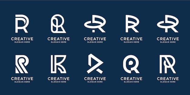 Set van creatieve beginletter r-logo in zwart-wit sjabloon. pictogrammen voor zaken van luxe, elegant, eenvoudig.