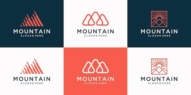 Set van creatieve berg logo met abstracte eerste m logo design collectie.