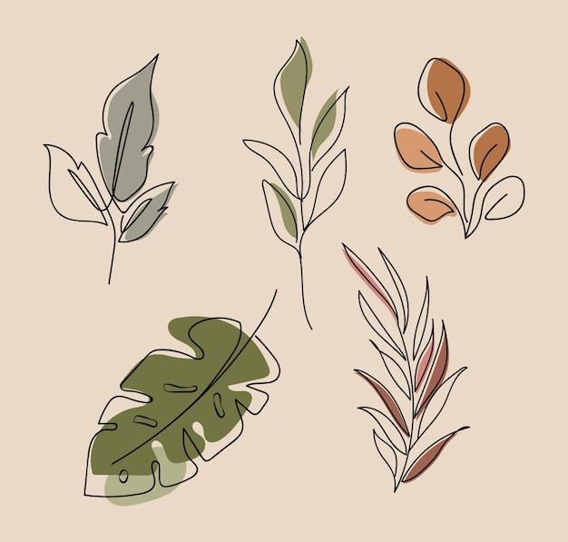 Set van creatieve botanische minimalistische handgeschilderde
