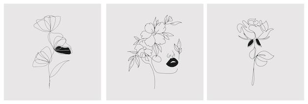 Set van creatieve botanische minimalistische handgeschilderde Premium Vector
