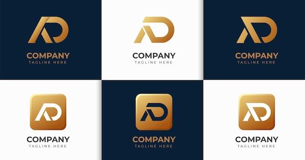 Set van creatieve brief da logo ontwerp sjabloon collectie