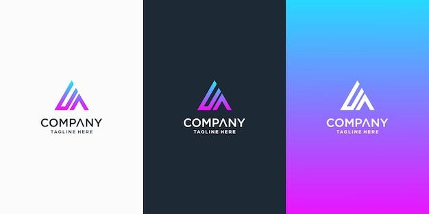 Set van creatieve brief ua logo ontwerpsjabloon premium