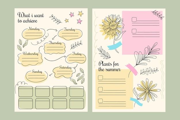 Set van creatieve bullet journal planner