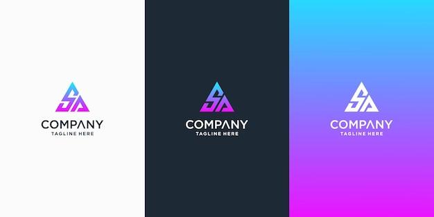 Set van creatieve ca brief vector logo ontwerp sjabloon premium