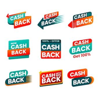 Set van creatieve cashback-labels
