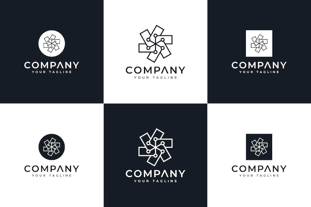 Set van creatieve dot line logo-ontwerp voor alle toepassingen