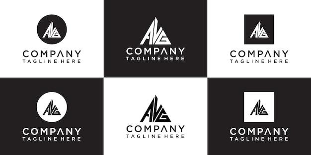 Set van creatieve driehoek monogram logo-ontwerp