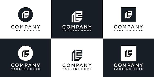 Set van creatieve eerste monogram l logo-ontwerp