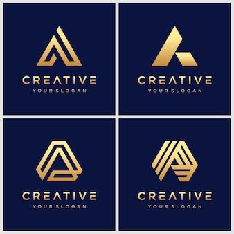 Set van creatieve gouden letter a monogram logo.