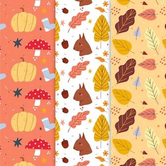 Set van creatieve herfst patronen