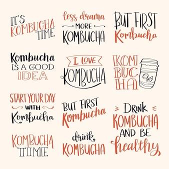 Set van creatieve kombucha thee belettering