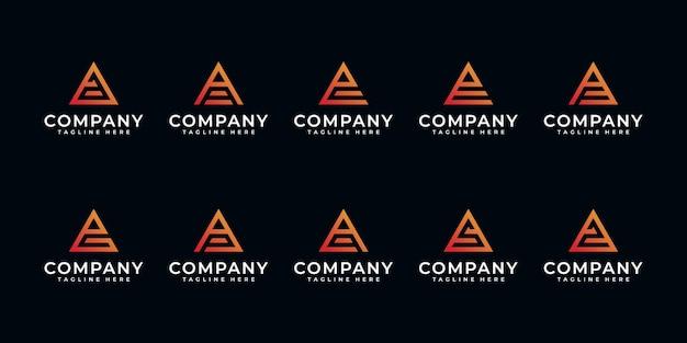 Set van creatieve letter a en etc met inspiratie voor driehoekslogo-ontwerp.