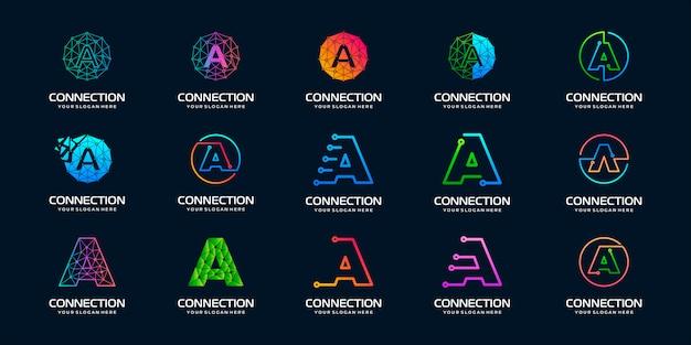 Set van creatieve letter a modern digital technology logo. het logo kan worden gebruikt voor technologie, digitaal, verbinding, elektrisch bedrijf.