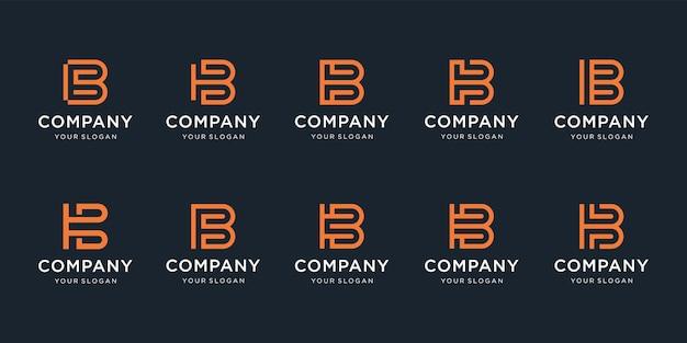 Set van creatieve letter b-logo met abstracte logo-sjabloon