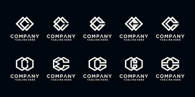 Set van creatieve letter c monogram abstracte logo ontwerpsjabloon