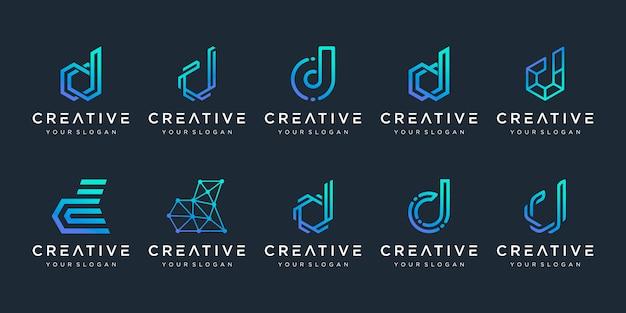 Set van creatieve letter d logo ontwerpsjabloon. logo's voor zaken van technologie, digitaal, eenvoudig.
