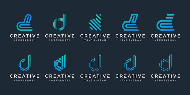 Set van creatieve letter d logo ontwerpsjabloon. pictogrammen voor zaken van luxe, elegant, eenvoudig.