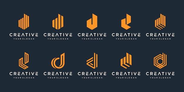 Set van creatieve letter d logo ontwerpsjabloon