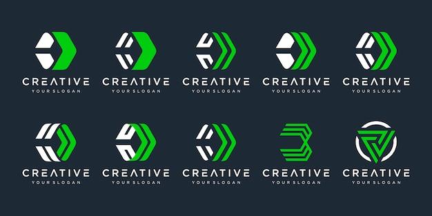 Set van creatieve letter d logo sjabloon. pictogrammen voor zaken van technologie en digitaal, financiën, marketing, transport.