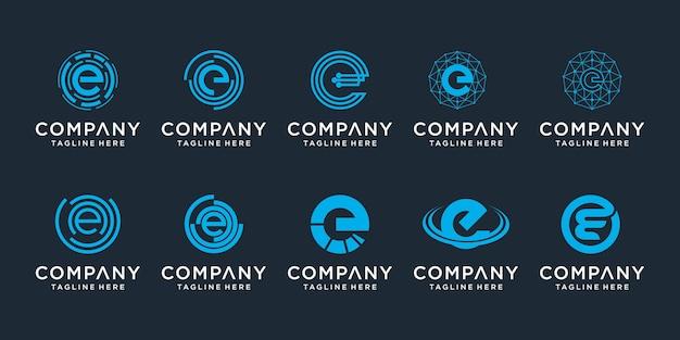 Set van creatieve letter e logo ontwerpsjabloon