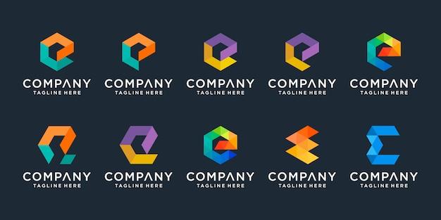 Set van creatieve letter e logo sjabloon. pictogrammen voor zaken van digitaal, technologie, financiën, luxe, elegant, eenvoudig.