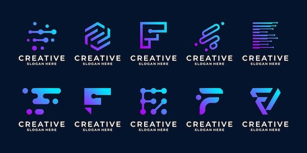 Set van creatieve letter f logo sjabloon. modern symbool voor digitale technologie met stip, molecuul en abstract.