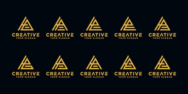 Set van creatieve letter h monogram abstracte logo ontwerpsjabloon