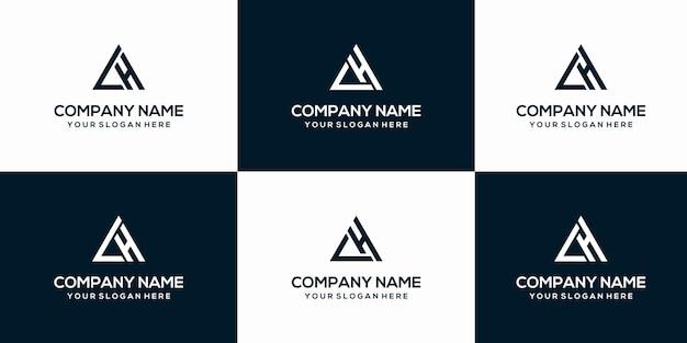 Set van creatieve letter lh logo ontwerpsjabloon