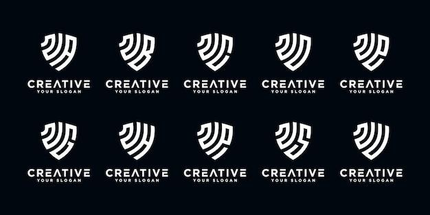Set van creatieve letter n en etc logo sjabloon met schild kunststijl. pictogrammen voor zaken van financiën, eenvoudig raadplegen.