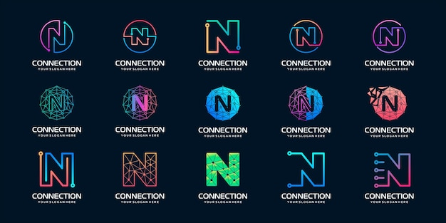 Set van creatieve letter n moderne digitale technologie-logo
